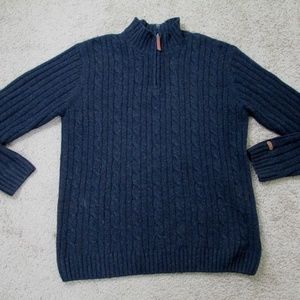 Columbia Sweater Wool Cable Knit Gray Men's Large